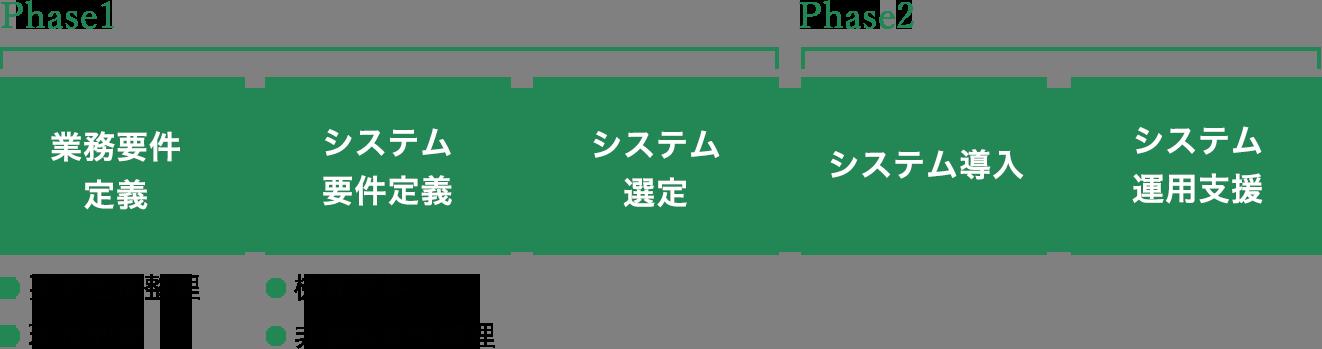 Phase1では業務要件定義(要求仕様整理/現状把握)、システム要件定義(機能要件/非機能要件整理)、システム選定を実施 Phase2ではシステム導入及び運用支援を実施
