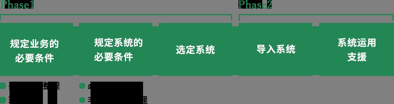 通过Phase1规定业务的必要条件(要求做法整理/现状把握)、规定系统的必要条件(必要功能/非必要功能整理)、实施系统的选定。 通过Phase2导入系统并进行运用支援。