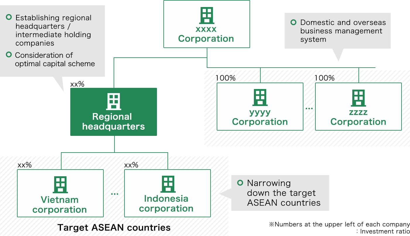 Domestic and overseas business management system, Establishing regional headquarters / intermediate holding companies, Consideration of optimal capital scheme, Narrowing down the target ASEAN countries