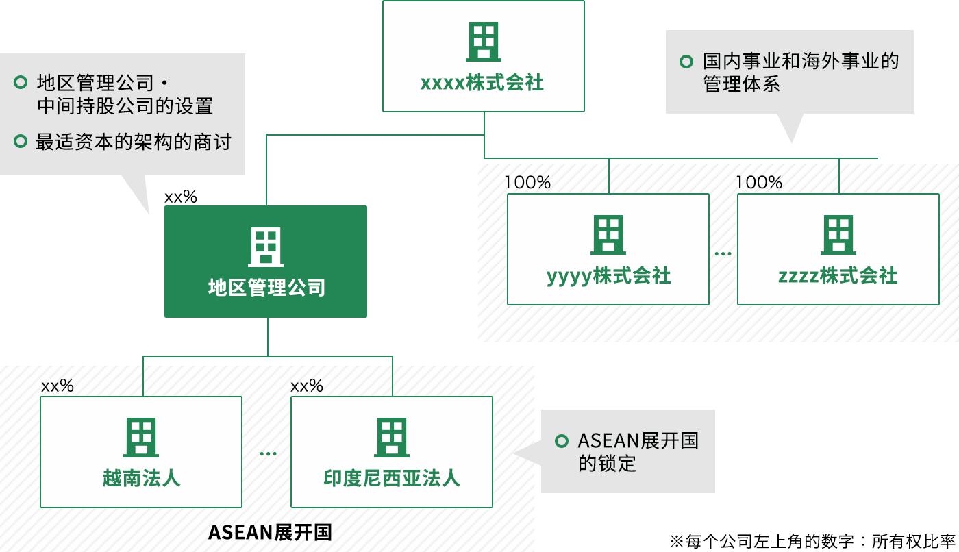 国内事业和海外事业的管理体系, 地区管理公司・中间持股公司的设置, 最适资本的架构的商讨, ASEAN展开国的锁定